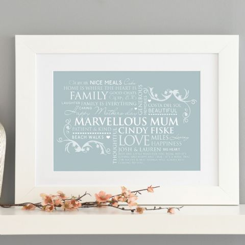 Personalised Word Art For Mum Print
